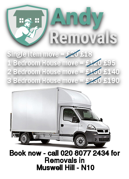Removals Price discount for Muswell Hill